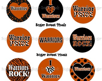 INSTANT DOWNLOAD Orange Warriors School Mascot 1 inch circle Bottlecap Images