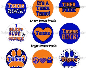 INSTANT DOWNLOAD Blue Orange  Tigers School Mascot 1 inch circle Bottlecap Images