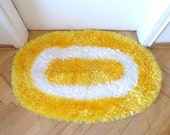 Double Faced Yellow and white  hand-knitted doormat - oval handmade home accessories-DOORMAT