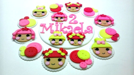 Inspired by the Lalaloopsy Dolls, Edible Fondant Cake Top and/or Cupcake or Cookie Toppers