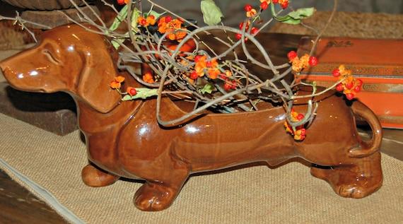 Iconic Hull Art Pottery Dachshund Planter Dog