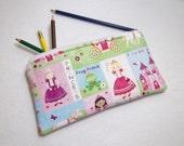 Princess print Pencil Case/ Crayon Case/Makeup Bag/ Cosmetic Case/ Ready to Ship