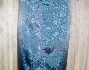 Blue Straight Wrap Skirt