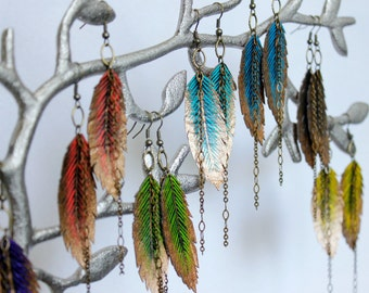 Faux Leather Feather Earrings, Painted Feather Earrings, Gifts for Her