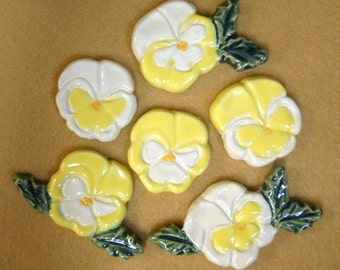 Handmade Ceramic Tiles PANSIES Yellow and White  set of 6
