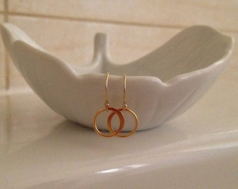 Tiny Gold Ring Earrings -Gold Circle Earrings -Gold Crescent Ring Drops