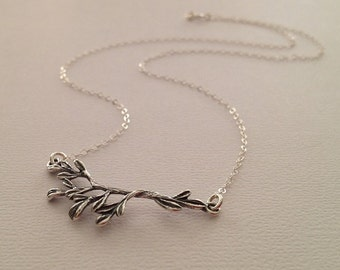 Branch Necklace in Sterling Silver -Silver Branch Necklace -Silver Nature Necklace