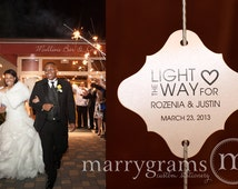 Sparkler Tags - Light the Way - Wedding Favor Tags Script Custom w Names and Date - Holders for Sparklers Lavender, Blush, Pink (Set of 150)