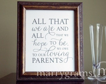 Thank You Wedding Gift Ideas For Parents : Wedding Reception Parent Thank You Sign - All That We Are Signage ...