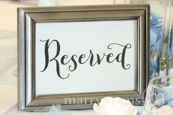 Reserved Sign Table Card Wedding Reception Seating Signage