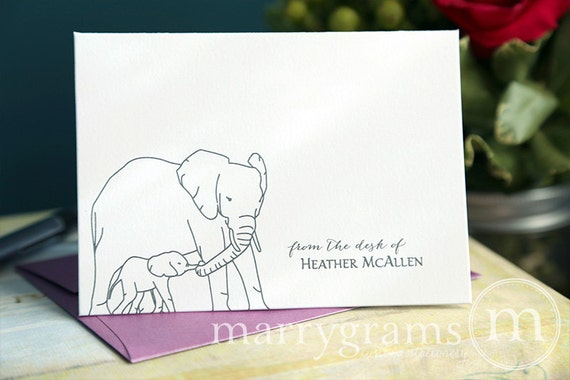 Elephant Note Cards Customized with Your Name - Cute Gift Idea - Personalized Stationery Elephants, Nature, Wildlife - Thank You (Set of 10)