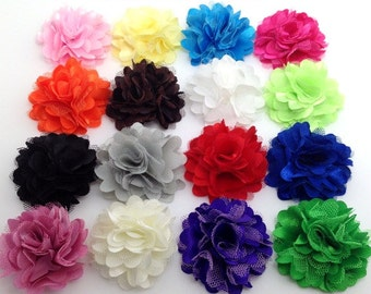 """10 BEAUTIFUL PETITE Satin And Tulle Puff Flowers-Size 2""""-You Choose Color-DIY Hair Bow/Headband/Hair Clips Supplies."""