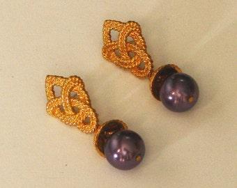 dangle purple post earrings