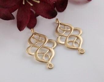 2 Pcs - Matte Gold Plated Filigree Chandelier Pendants, Connector, Earrings, Charm, Pendant (28x18MM) JH0G4