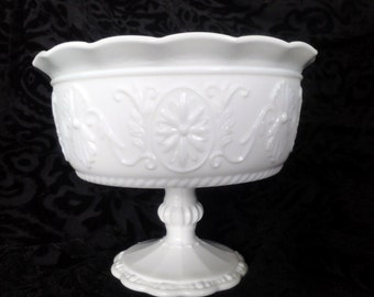 Vintage Milk Glass Compote with Floral Motif - For Wedding Decor or Home Decor - Candy Dish, Candy Buffet