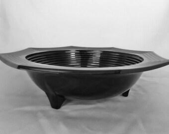 Vintage Black Milk Glass Footed Bowl or Serving Dish