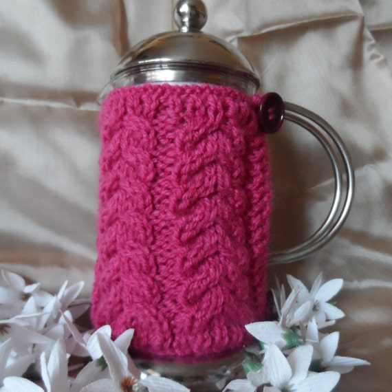 Hand knitted raspberry cafetiere cover coffee pot cozy