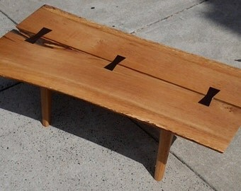 George Nakashima and Paul McCobb style Small Coffee Table Live Edge Quarter Sawn Oak Slab and Wenge Bowties Mid Century Modern Ready to Ship