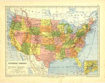 United States Vintage Map 1912 Home Decor Political Division