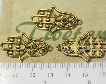 12 pcs per pack 30x18mm Hamsa Hand of Fatima Charm in Antique Gold Lead Free Pewter