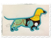 Applique Dachshund Silhouette Machine Embroidery Design - 5 Sizes