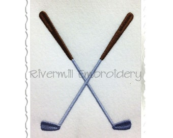 Crossed Golf Clubs Machine Embroidery Design - 4 Sizes