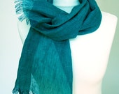 Scarf of pure airy linen   Blue green  Electric colour Turquoise dark   Ready to ship