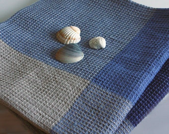 Natural Linen Cotton BathTowel.  Large Body LinenTowel. Blue squared linen towel. Sauna Towel