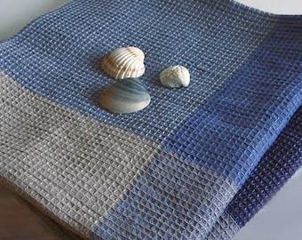 Natural Linen Cotton BathTowel.  Large Body LinenTowel. Blue squared linen towel. Sauna Towel