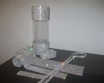 "8Feet 24 Rows 3"" Wide Diamond Ribbon Trim  Real Rhinestone Crystal  Banding trim Bling for Wedding Cake Banding Trim Centerpiece Vase"