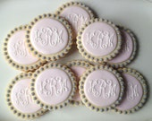 Pink and Grey Monogram Cookies - 1 dozen