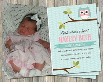Owl Baby girl photo birth announcement in Aqua and Pink, digital file