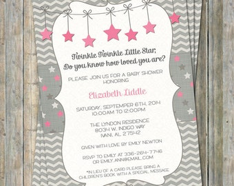 Twinkle, Twinkle Little Star baby shower invite, pink and gray, how loved you are, Pink Stars digital, printable file