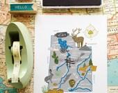 """Utah Illustrated 8""""x10"""" Map"""