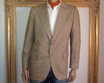 Vintage 1970's Brown Tweed Sport Coat - Size 42