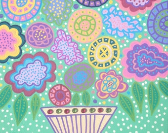 Kerri Ambrosino Mexican Folk Art PRINT Flowers Vase Sea Foam Green Pastels Spring Summer Happiness