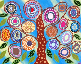 Kerri Ambrosino Art PRINT Mexican Folk Art French Blue Tree of Life Flowers Summer
