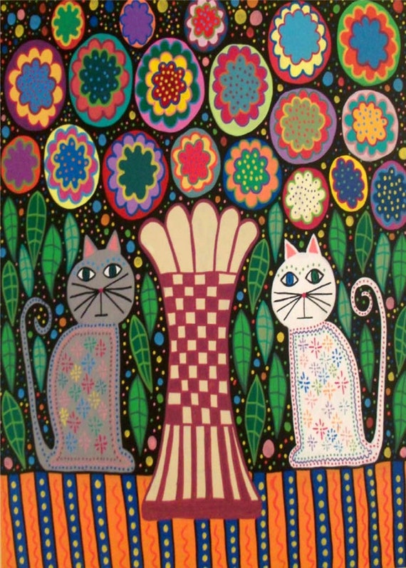 Kerri Ambrosino Art Needlepoint Mexican Folk Art Vase Cats
