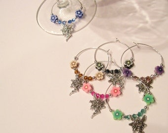 Set of 6 Wine Charms Fairy Garden Collection Handmade Great Gift