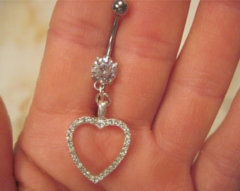 Navel Belly Button Ring Barbell Heart Clear Crystal Rhinestones naval