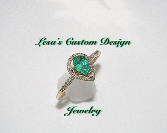 Certified Pear Shaped Emerald and Diamond 14k Gold Ring