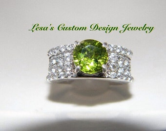 Peridot and White Zircon Sterling Silver Ring