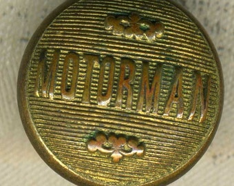 Vintage Brass Railroad Uniform Button ~ 9/16 inch 15mm ~ Work Clothes Motorman Sewing Button