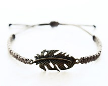 Feather Bracelet - Hemp Bracelet Bronze Feather - Hemp Jewelry