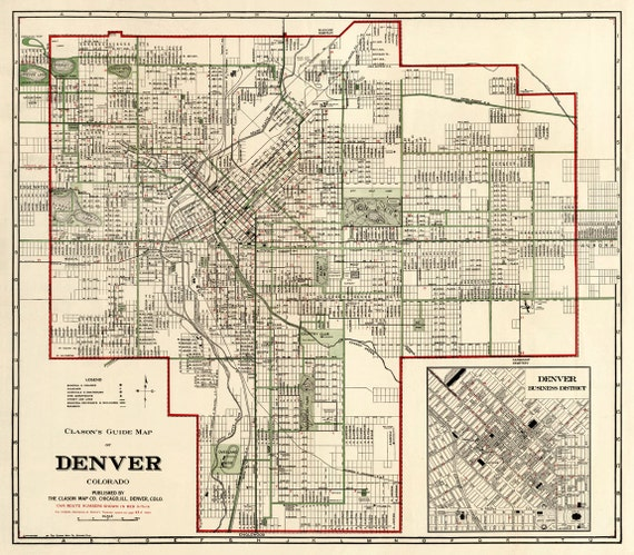 Denver Map Vintage Map Of Denver Old Map Restored Wall