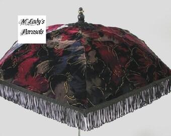 Last One VICTORIAN PARASOL Umbrella in Elegant Vintage Deep Floral Velvet with Gold Thread Detail and Black Fringe Reenactment Civil War