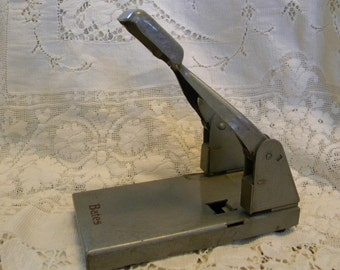 Vintage Bates perforator 2 hole punch midcentury industrial office supply