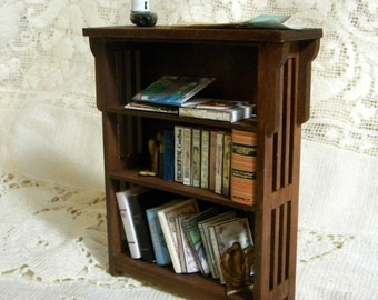 Mission style bookcase kit dollhouse miniature easy to build  TreasuresFromTexas