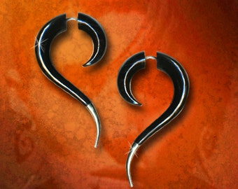 Silver Tail Dragon Spirals, Fake Gauge, Tribal Earrings, Split, Expanders, Organic, Cheaters, Black Horn Earrings - H27