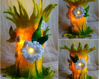 felted flower lamp, bedside lamp, night light, handmade, wool, felt, fairy light, Waldorf inspired, MADE TO ORDER
